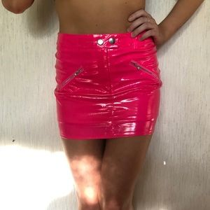 neon pink fashion nova pleather mini skirt